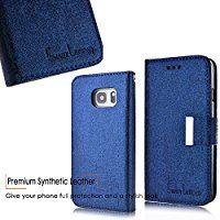 SMART LEGEND Samsung Galaxy S7 Edge ケース 良質 PU レザー マグネット式 吸着 取り外し 自由 分離可能 カバー 手帳型 カード入れ ストラップ付き 保護カバー 金属飾り サムスン ギャラクシー S7 エッジ 専用 ブルー