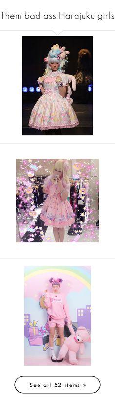 """Them bad ass Harajuku girls"" by c0ffee-kid ❤ liked on Polyvore featuring kawaii, harajuku, japanesefashion, beauty products, nail care, nails, makeup, hair, home and kitchen & dining"