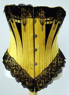 Corset  1880  The Metropolitan Museum of Art.  Early for my research, but what a color!  Between that, the embroidery, the lace, the contrasting bust panels, this was clearly meant to be seen and not forgotten! - elle macpherson lingerie, womens lingerie, aubade lingerie *sponsored https://www.pinterest.com/lingerie_yes/ https://www.pinterest.com/explore/intimates/ https://www.pinterest.com/lingerie_yes/wedding-lingerie/ https://www.nancymeyer.com/Lingerie/Search