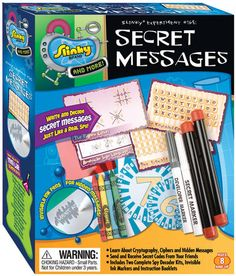 A fun kit for aspiring detectives! Whether your child wants to solve pretend mysteries or simply send super secret messages to friends, they'll have a blast with the Secret Messages Kit.