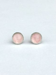 genuine rose quartz 8mm smooth round stud earrings with 925 sterling silver bezel and post by jewelrybyelisha on Etsy $41.00