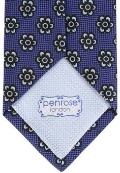 Graphic Flower Royal Blue Tie | Blue Floral Tie | Penrose London