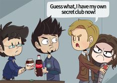 Guess what, I have my own secret club now! || Bruce Banner, Tony Stark, Steve Rogers and Bucky Barnes || #fanart #humor