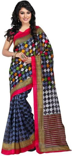 LadyIndia.com # Silk Saree, Trendy Printed Beautiful Multicolor Saree Fro Women-Sari, Printed Sarees, Casual Saris, Silk Saree, https://ladyindia.com/collections/ethnic-wear/products/trendy-printed-beautiful-multicolor-saree-fro-women-sari