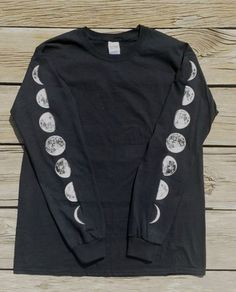 Moon Phases Black Long Sleeve Shirt by DreamBoundIndustry on Etsy