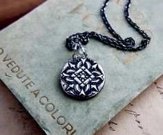 Ornament Necklace Silver Filigree Gothic Coin Myth by PoleStar