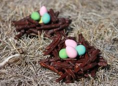 Chocolate and pretzel Easter nests. Going to try these this year!