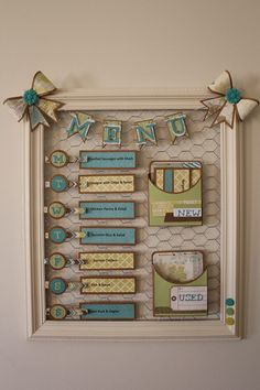 Menu board by Lisa Wake using the new skylark colletion Love this! To shop or jo. Menu board by Li Diy And Crafts, Arts And Crafts, Paper Crafts, Chicken Wire Crafts, Chicken Wire Frame, Craft Projects, Projects To Try, Menu Boards, Menu Planners