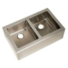 Pegasus Apron Front Freestanding Stainless Steel 33 in. x 20 in. x 10 in. Double Bowl Kitchen Sink-AP2033 at The Home Depot