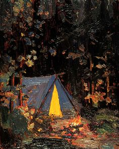 Campfire - Tom Thomson 1916 Canadian Group Of Seven Emily Carr, Canadian Painters, Canadian Artists, Art Nouveau, Nocturne, Landscape Art, Landscape Paintings, Group Of Seven Artists, Group Of Seven Paintings