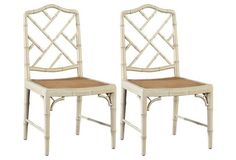 Rattan caning lends these otherwise classic Chinese Chippendale side chairs a quiet, rustic appeal. Crafted of bamboo-carved mahogany sealed in a glossy ivory finish. Side Chairs, Dining Chairs, Dining Room, Chippendale Chairs, Garden Deco, Rattan Furniture, Chinese Style, Wicker, Bamboo