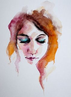 Watercolor - i'd like to try this for a portrait of drew or barbara. Watercolor Face, Watercolor Art Diy, Watercolor Art Paintings, Watercolor Portraits, Watercolor Images, Watercolours, Art Tumblr, Art Vintage, Guache