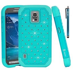 Galaxy S5 Active Case, Style4U Galaxy S5 Active Studded Rhinestone Crystal Bling Hybrid Armor Case Cover for Samsung Galaxy S5 Active G870 with 1 HD Screen Protector and 1 Stylus (Not for Samsung Galaxy S5) [Teal / Mint Green]