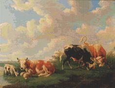 Cattle In A Meadow Cross Stitch Pattern by Avalon Cross Stitch on Etsy