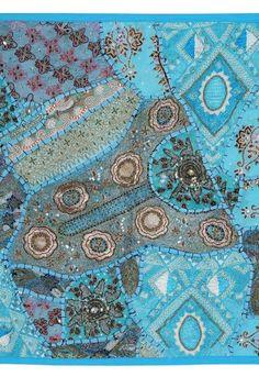 ビーズ刺繍タペストリー★パッチワーク★ブルー横長★テーブルセンターにも - ボンベネーゼ