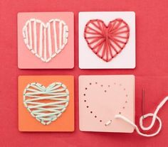 Great idea just in time for Valentine's Day for using that leftover yarn you never want to throw away.
