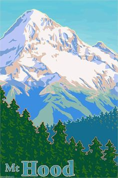 Vintage Mount Hood Travel Poster (Print) by Mitch Frey Oregon Travel, Travel Usa, Wpa Posters, Poster Prints, Retro Posters, National Park Posters, National Parks, Voyage Usa, Mount Hood