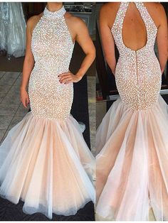 Trumpet/Mermaid+High+Neck+Floor-length+Tulle+Prom+Dresses/Evening+Dresses+#SP7322