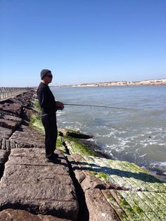 Hubby fishing at packery jetty!