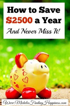 How to Save $2500 a Year, and Never Miss It - Michele's Finding HappinessMichele's Finding Happiness Ways To Save Money, Money Tips, Money Saving Tips, How To Make Money, Saving Ideas, Living On A Budget, Frugal Living Tips, Frugal Tips, Never Miss