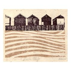 Beach Days Beach hut Lino & Gocco Print £18.00