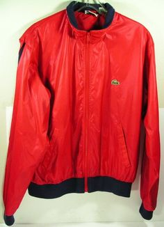 vintage lacoste club windbreaker jacket men's large red 1980s golf preppy nylon #Lacoste #Windbreaker