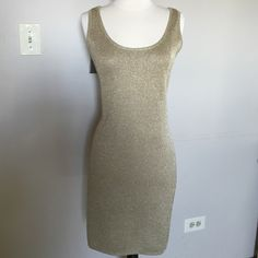 """EVAN PICONE Dress size M (8-10) Golden bodycon type dress. Knitted.No lining no zipper. Length 36"""" Hand wash. Evan Picone Dresses"""