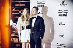 """Stars Emilio Insolera (R) and Carola Insolera (L) attend the World Premiere of """"Sign Gene"""" at The Space Cinema Odeon on September 8th, 2017 in Milan, Italy."""