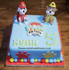 Paw Patrol birthday cake. Boy's 5th birthday cake, with Marshall and Rubble models
