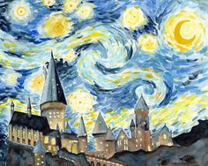 Inspired by Harry Potter and Van Gogh, this is an art print of my original watercolor painting of Hogwarts Castle with the Starry Night sky. The