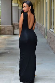 Low V Back Black Slit Her Maxi Dress d22216b04