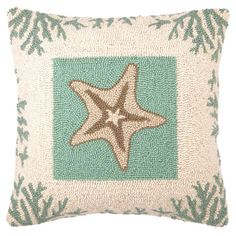 Bring a coastal touch to your loveseat, chaise, or bed with this hand-hooked wool and cotton pillow, featuring a charming starfish motif highlighted by a cor...