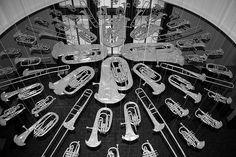 cornelia parker, breathless (installation made of flattened brass band instruments), photo: W10, via flickr