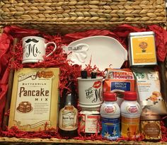The breakfast in bed gift basket I made for a Bridal Shower gift! The breakfast in bed gift basket I made for a Bridal Shower gift! Holiday Gift Baskets, Themed Gift Baskets, Diy Gift Baskets, Gourmet Gift Baskets, Raffle Baskets, Gourmet Gifts, Holiday Gifts, Christmas Gifts, Christmas Baskets