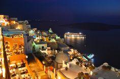 Even when the sun goes down, Fira lights up the night on Santorini. I enjoyed dinner at that little yellow restaurant on the bottom left