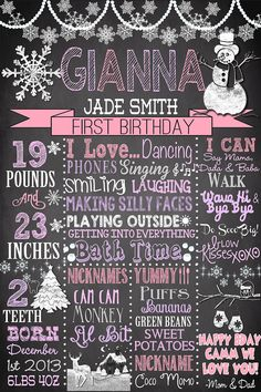 1st birthday winter onederland chalkboard by CustomPrintablesNY