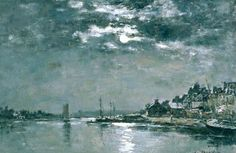 Moonlit Seascape by Eugene-Louis Boudin, French, 1824-1898. Oddly enough, Boudin was one of the first French landscape artists to paint outdoors, which would seem to be the natural environment for such a work. He was a marine painter of both sea and shore and was known as a master of the sky. Boudin himself had once been a fisherman, but gave it up to follow his real calling.
