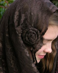Brown Infinity Veil with Brown Rosette  by RobinNestLane on Etsy