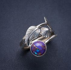 925 Sterling Silver Peacock Ore Gemstone Leaf Ring Stone Purple Size 8 R Peacock Ore, Showing Gratitude, R Colors, Leaf Ring, Unique Rings, Gemstone Rings, Delicate, Bling, Craft Ideas