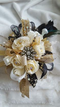 Cream black and gold prom corsage set from Hen House Designs www.henhousedesigns.net