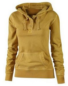 Active Hooded Solid Color Buttoned Pocket Pullover Hoodie For Women Sweatshirts & Hoodies | RoseGal.com Mobile