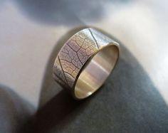 Bague argent motif feuille, anneau large bande, bague en argent Sterling, bijoux de ferronnerie