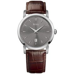 Hugo Boss Mens Slim Ultra Round Stainless Steel and Dark  Leather... ($205) ❤ liked on Polyvore featuring men's fashion, men's jewelry, men's watches and brown