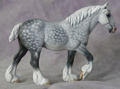 """mini """"Cromwell"""" resin sculpted by Doris Lindner and released by Horsing Around, painted dappled grey by Elizabeth Bouras - Amarna Productions (2015),"""