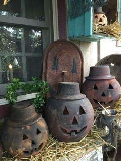 Love these. Maybe try to do a faux rusted metal finish on  faux pumpkins. So cute!!