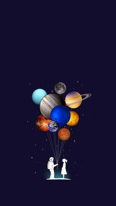 Planets Wallpaper, Wallpaper Space, Black Wallpaper, Screen Wallpaper, Galaxy Wallpaper, Mobile Wallpaper, Wallpaper Backgrounds, Wallpaper Ideas, Astronaut Wallpaper