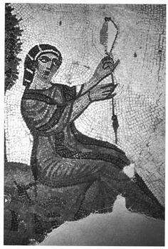 Fileuse d'une mosaïque romaine de Tabarka (Musée du Bardo, Tunis).