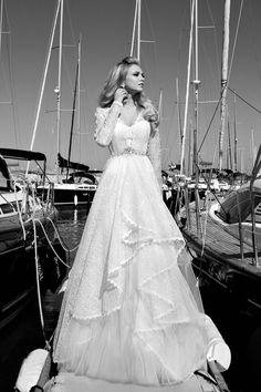**This longsleeved lacy beauty is just what I've thought about for a winter wedding some day :) **Galia Lahav 2013 Bridal Collection: The St. Tropez Cruise + My Dress of The Week - Belle the Magazine . The Wedding Blog For The Sophisticated Bride