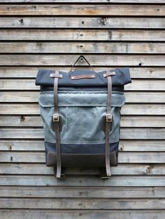 Canvas rucksack/backpack with roll up top and waxed leather bottom COLLECTION UNISEX auf Etsy, CHF 198.95