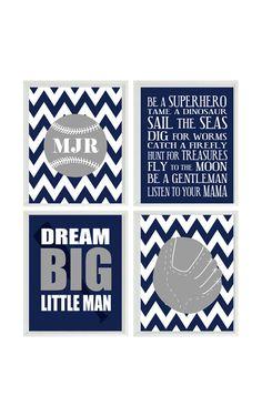 Baseball Nursery Wall Art Print Set - Gray Navy Blue Chevron - Boy Rules Personalize Initials Baby Boy Room - Dream Big Little Man - 4 8x10    Set